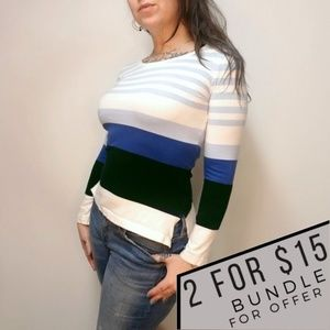 """ST JOHN """"Blues Collection"""" Striped Long Sleeve Tee"""